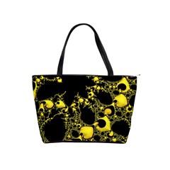 Special Fractal 04 Yellow Large Shoulder Bag