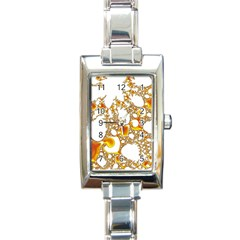 Special Fractal 04 Orange Rectangular Italian Charm Watch
