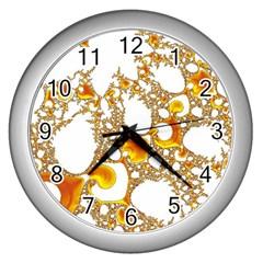 Special Fractal 04 Orange Wall Clock (Silver)