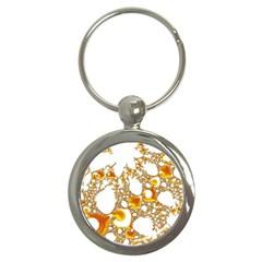 Special Fractal 04 Orange Key Chain (round)