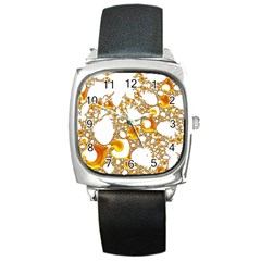 Special Fractal 04 Orange Square Leather Watch