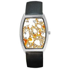 Special Fractal 04 Orange Tonneau Leather Watch