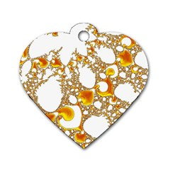 Special Fractal 04 Orange Dog Tag Heart (Two Sided)
