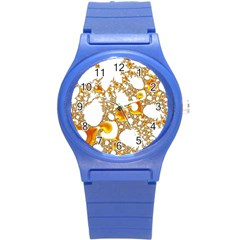 Special Fractal 04 Orange Plastic Sport Watch (small)