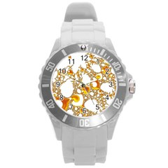 Special Fractal 04 Orange Plastic Sport Watch (Large)