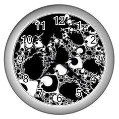 Special Fractal 04 B&w Wall Clock (Silver)