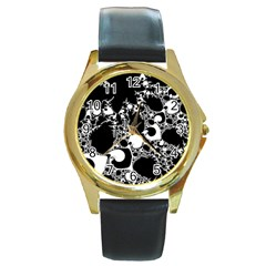 Special Fractal 04 B&w Round Leather Watch (Gold Rim)