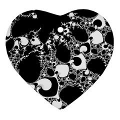 Special Fractal 04 B&w Heart Ornament (Two Sides)