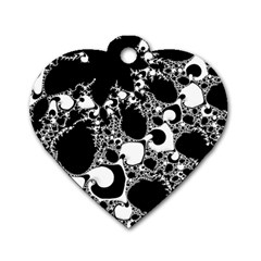 Special Fractal 04 B&w Dog Tag Heart (One Sided)