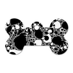 Special Fractal 04 B&w Dog Tag Bone (one Sided)