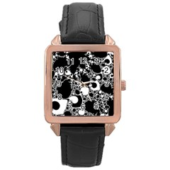 Special Fractal 04 B&w Rose Gold Leather Watch