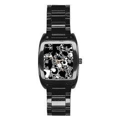 Special Fractal 04 B&w Stainless Steel Barrel Watch