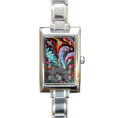 Special Fractal 02 Red Rectangular Italian Charm Watch