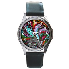 Special Fractal 02 Red Round Leather Watch (Silver Rim)