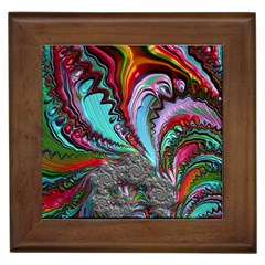 Special Fractal 02 Red Framed Ceramic Tile