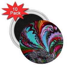 Special Fractal 02 Red 2.25  Button Magnet (10 pack)