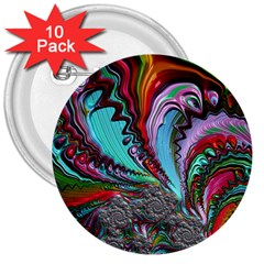 Special Fractal 02 Red 3  Button (10 pack)