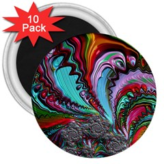 Special Fractal 02 Red 3  Button Magnet (10 pack)