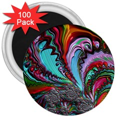 Special Fractal 02 Red 3  Button Magnet (100 pack)