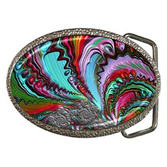 Special Fractal 02 Red Belt Buckle (Oval)