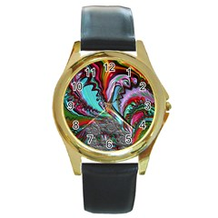 Special Fractal 02 Red Round Leather Watch (Gold Rim)