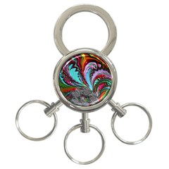 Special Fractal 02 Red 3-Ring Key Chain