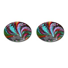 Special Fractal 02 Red Cufflinks (Oval)