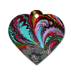 Special Fractal 02 Red Dog Tag Heart (two Sided)