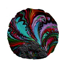 Special Fractal 02 Red 15  Premium Round Cushion