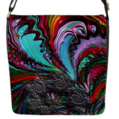 Special Fractal 02 Red Flap Closure Messenger Bag (small)