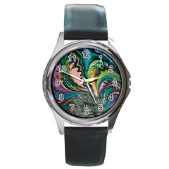 Special Fractal 02 Purple Round Leather Watch (Silver Rim)