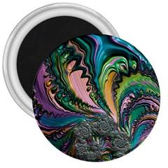 Special Fractal 02 Purple 3  Button Magnet