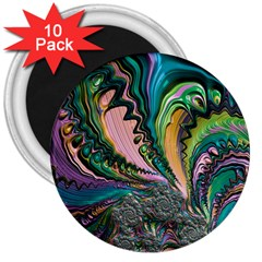 Special Fractal 02 Purple 3  Button Magnet (10 pack)