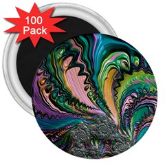 Special Fractal 02 Purple 3  Button Magnet (100 pack)