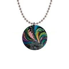 Special Fractal 02 Purple Button Necklace