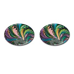 Special Fractal 02 Purple Cufflinks (oval)