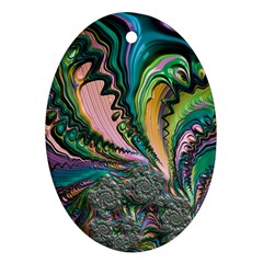 Special Fractal 02 Purple Oval Ornament (Two Sides)
