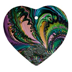 Special Fractal 02 Purple Heart Ornament (Two Sides)