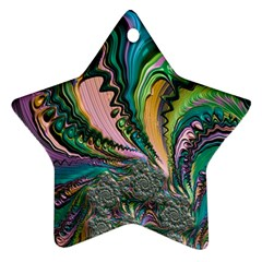 Special Fractal 02 Purple Star Ornament (Two Sides)