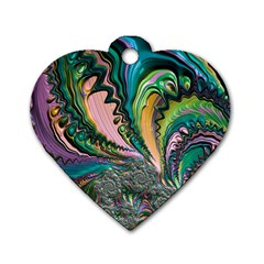 Special Fractal 02 Purple Dog Tag Heart (two Sided)