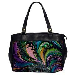 Special Fractal 02 Purple Oversize Office Handbag (One Side)