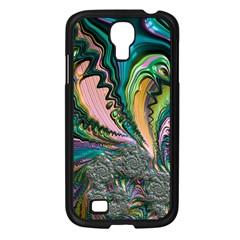 Special Fractal 02 Purple Samsung Galaxy S4 I9500/ I9505 Case (Black)