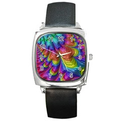 Radiant Sunday Neon Square Leather Watch