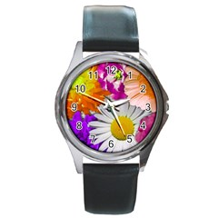 Lovely Flowers,purple Round Leather Watch (Silver Rim)