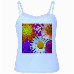 Lovely Flowers,purple Baby Blue Spaghetti Tank
