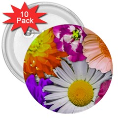 Lovely Flowers,purple 3  Button (10 Pack)