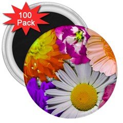 Lovely Flowers,purple 3  Button Magnet (100 Pack)