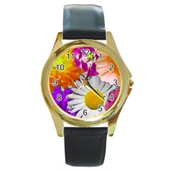 Lovely Flowers,purple Round Leather Watch (gold Rim)