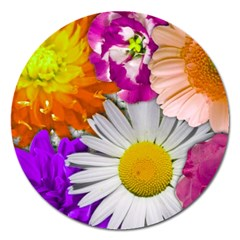 Lovely Flowers,purple Magnet 5  (Round)