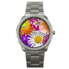 Lovely Flowers,purple Sport Metal Watch